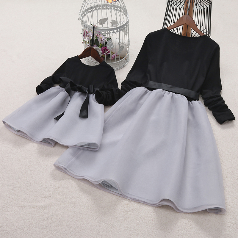 bf8c96ea33 Online Shop PopReal Fashion Mother Daughter Dress Bowknot Self Tie Color  Block Family Matching Clothes Tutu Girls Dress Mommy And Me Clothes |  Aliexpress ...