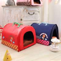 2016 Hot Sale Collapsible Doghouse Cartoon Dog Bed Pet Puppy Nest Cat House Kennel Pet Home