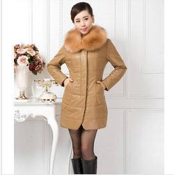 5XL Plus size 2014 Winter Ladies Fashion Faux Fox Fur Collar Long Genuine Leather Jacket Women Slim Leather Jackets Coat B1456