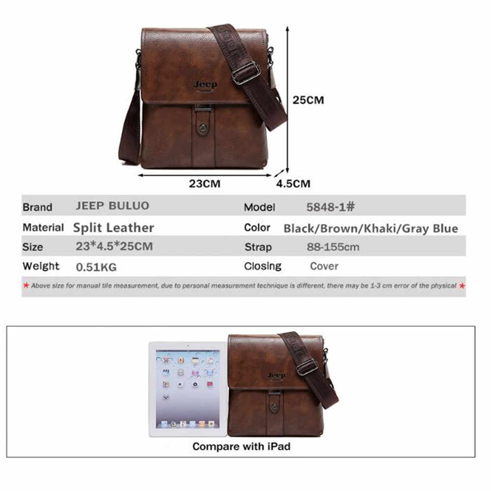 769dc843fe ... JEEP BULUO Brand Men Bags Cow Split Leather Fashion Male Messenger Bags  Men s Briefcase Man Casual ...