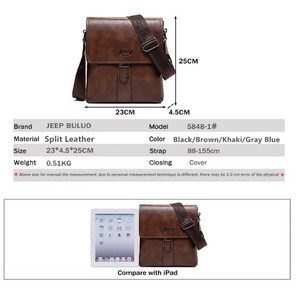 Image 2 - JEEP BULUO Brand Mens Bags Split Leather Fashion Male Messenger Bags Man Casual Crossbody Shoulder Bag For iPad Mini Classic