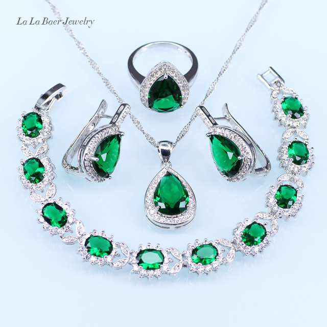 L B Silver 925 Necklace For Women Green Created Emerald Jewelry Sets Crystal Bracelet Drop Earrings