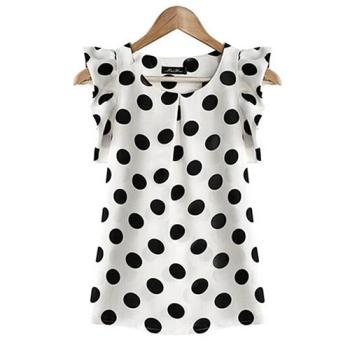 Hot Women Summer Casual Polka Dot Round Neck Short Sleeve Shirt Top Chiffon Blouse
