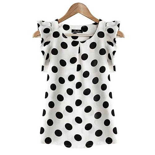Hot Women Summer Casual Polka Dot Round Neck Short Sleeve Shirt Top Chiffon Blouse