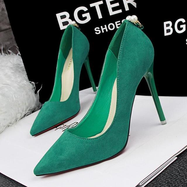 {D & H} Marca Calçados Femininos Moda Pérola Mulheres Bombas Rebanho Verde Estilo Estrela de Salto Alto Sapatos de Trabalho sapatos Mulheres Stiletto