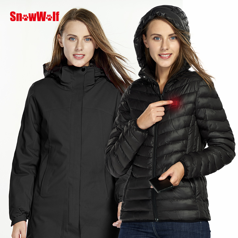 Snowwolf 2019 Women Winter Outdoor Ski Suit USB Infrared Heating Hooded Ski Jacket Electric Thermal Snowboard Clothing Coat