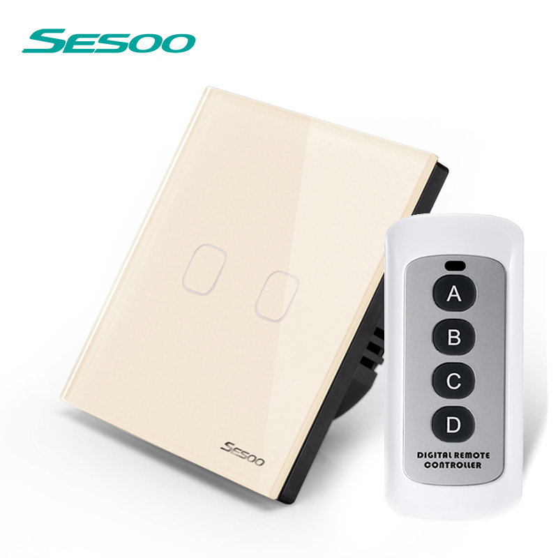 Sesoo EU/UK 2 Gang 1 remoto Interruptor táctil de control remoto de pared SY2-02-RFL oro