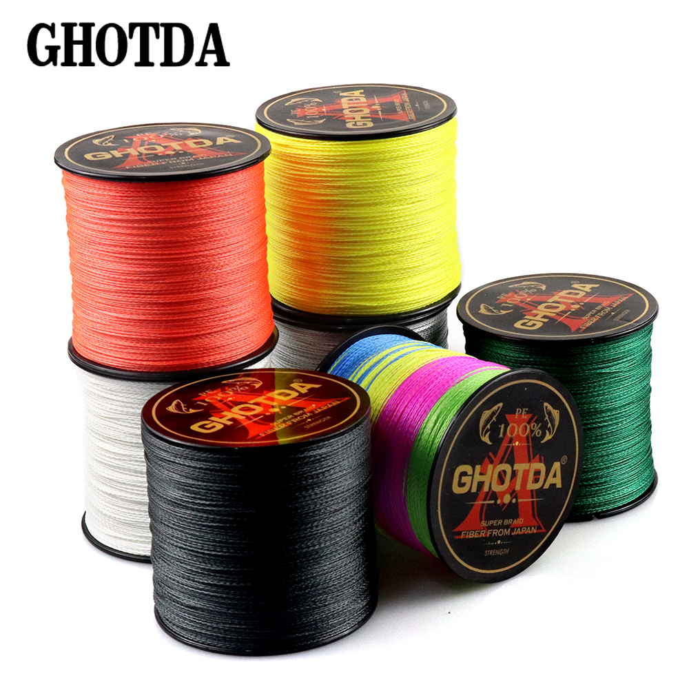 GHOTDA Brand 300M PE Braided Fishing Line 4 Strand 10-120LB Multifilament Fishing Line For Carp Fishing Wire For All Fishing