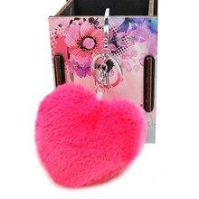 Faux Rex Rabbit Fur Heart Pom Ball Key Chain Ring New Fashion Fluffy Woman Bag Charms Keychain Man Car Keyring Jewelry Trinkets