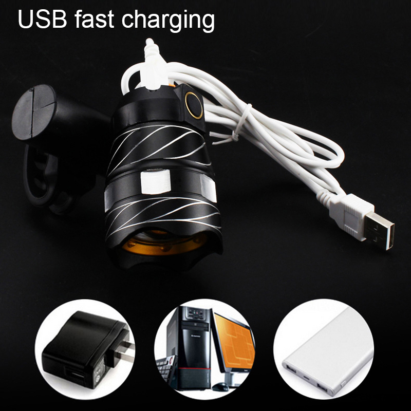 Light Bike Front Lamp Outdoor Zoomable, Torch Headlight USB Rechargeable Built-in Battery 15000LM 3