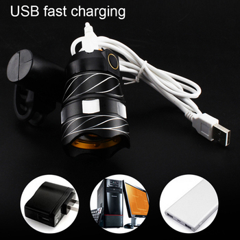 Light Bike Front Lamp Outdoor Zoomable, Torch Headlight USB Rechargeable Built-in Battery 15000LM 8