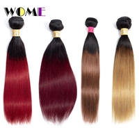 Wome Straight Ombre Hair Bundles Brazilian Non Rem Hair Extensions 1/3 Pcs Deal T1B/99J/Red/Bloned Ombre Human Hair Bundles
