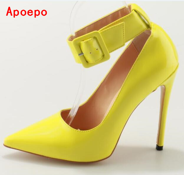 Yellow Lemon Leather Pointed Toe Big Ankle Strap Shoes Thin Heel Cut-out Buckle High Heel Pumps Stiletto Heels Club Wear Shoes new arrival 2017 summer pointed toe shoes high heels ankle buckle stiletto sandals elegant simplicity dress heel shoes pumps