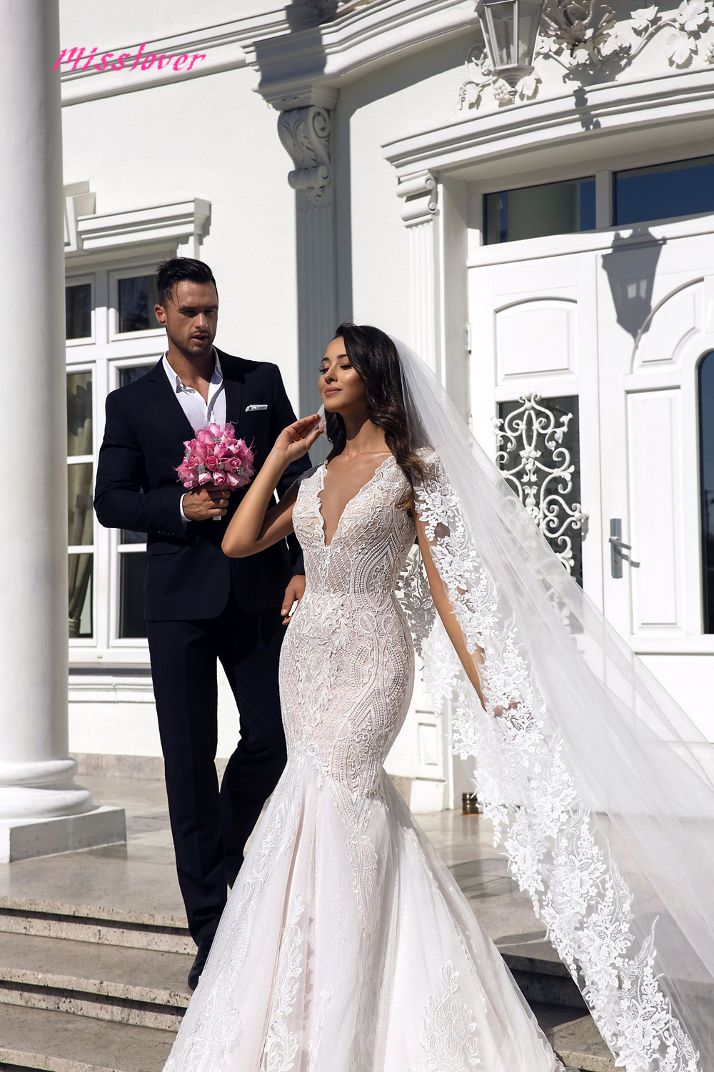 Image 4 - Robe de mariee sexy Illusion V neck Backless Lace Mermaid Wedding Dresses 2019 new Luxury Bridal Gown vestidos de noiva-in Wedding Dresses from Weddings & Events