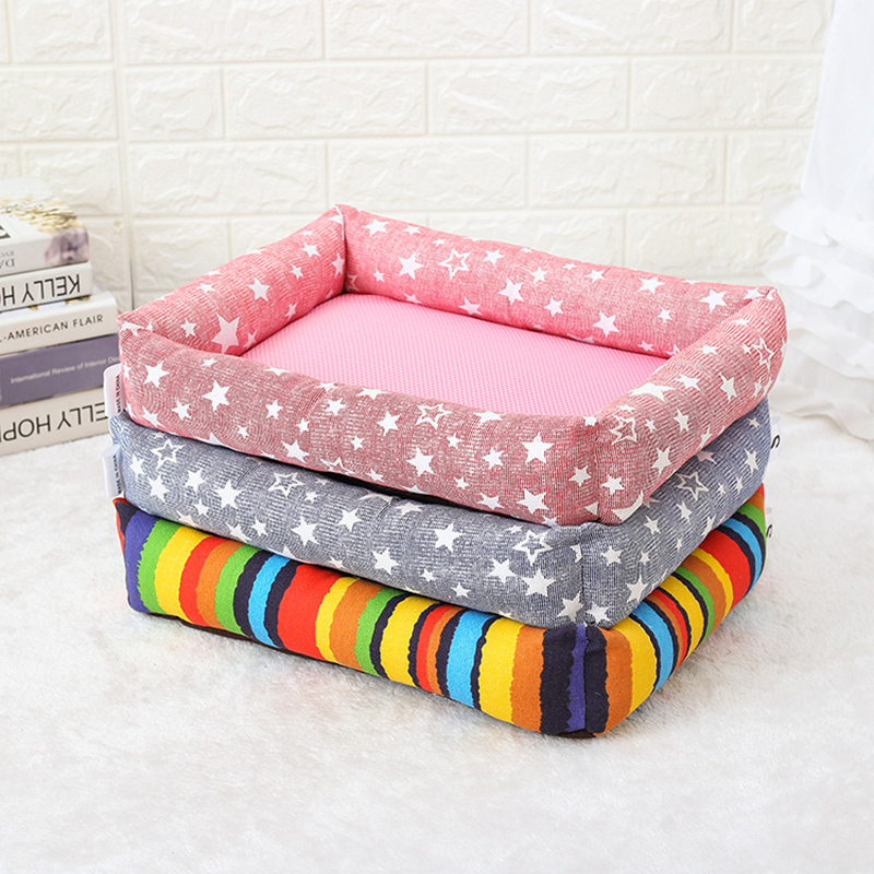 Colored Pet Dog Sleeping Warm Soft Bed Cushion Star Print Canvas Mattress Cats Dogs Mat Puppy Blanket Bed Pad Kennels mattress