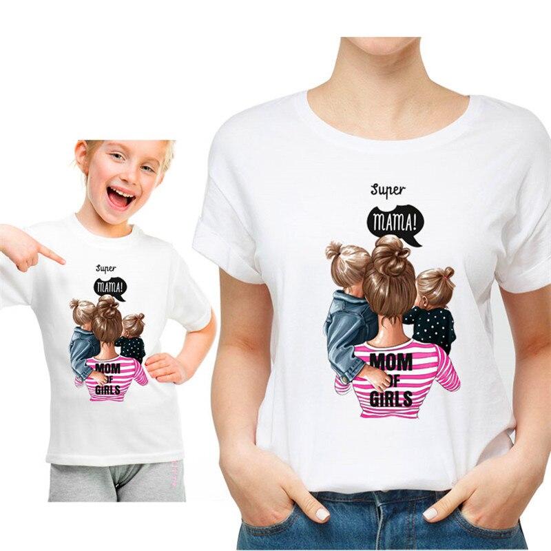 Korean Fashion Mom Of Girls/Boys Tees Tops Cute Harajuku Super Mama Printing Women T Shirt Casual Kawaii Parent-child Clothing