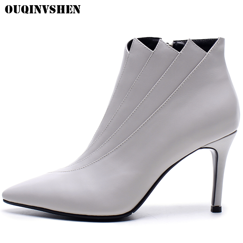 OUQINVSHEN Pointed Toe High heel Women's Boots Genuine Leather Women Ankle Boots Winter Zipper Casual Fashion Ladies Boots Shoes nayiduyun women genuine leather wedge high heel pumps platform creepers round toe slip on casual shoes boots wedge sneakers