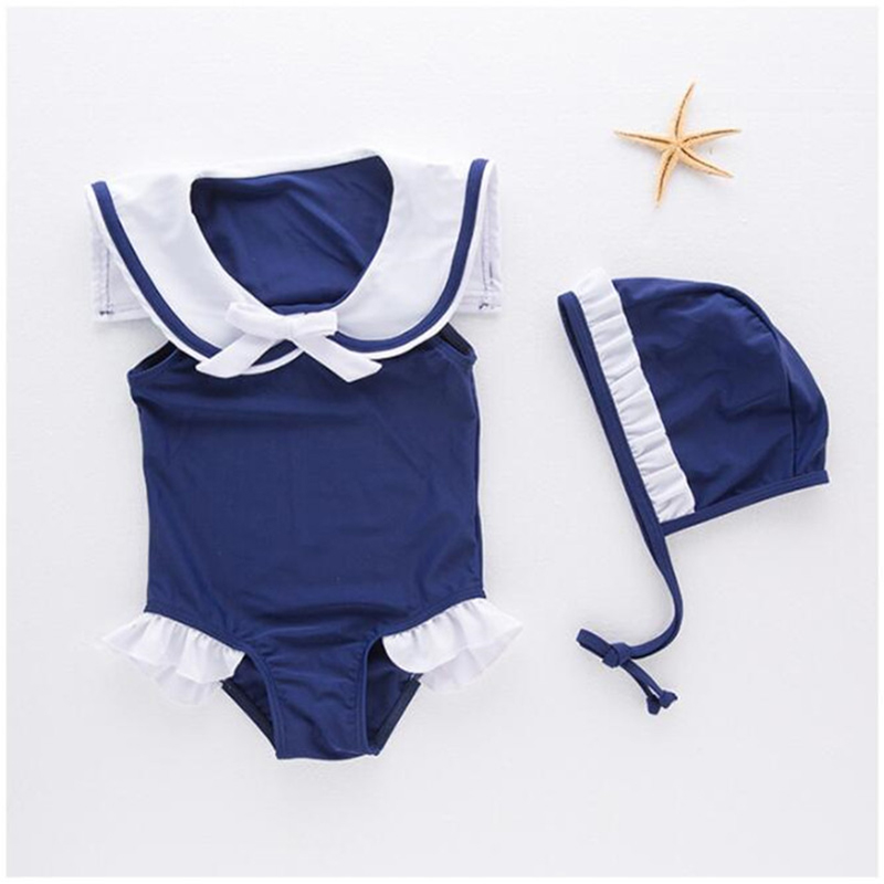 Newborn Baby Girls navy style One Piece Swimwear toddle kids Swimsuit Clothes children Bathing Suit outfits with hat