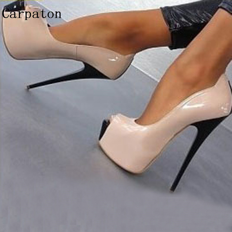 цена на Sexy Women High Platform Peep Toe Pumps Fashion Ladies High Heels Female Dress Party Stiletto Heels Nightclub Shoes