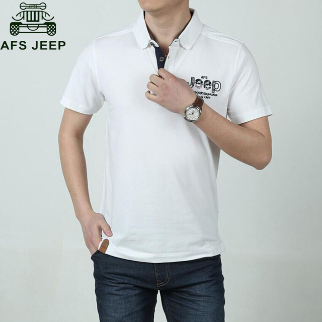 Afs Jeep Brand Polo Shirt Men Polo Рубашки Хлопок Анти-Пиллинг 2017 Мода Camisa Polo Плюс Размер 3XL Печати Вышивка POLO Homme