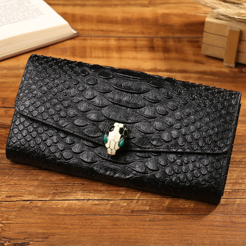 New Arrival Famous Brand Design Genuine Leather Wallets Women Serpentine Cow Leather Coin Purse Snake Head Clutch Money Bags famous brand frist cow leather 2015 new arrival men wallets male money pocket short design retro organizer purse move card slots