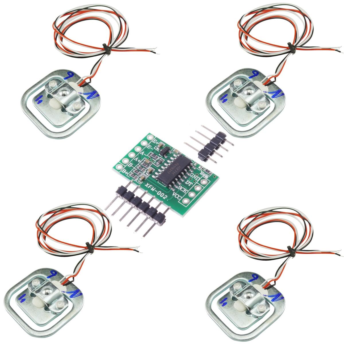 4pcs Human Scale Load Cell Weight Weighting Sensor 50KG Half-bridge with Amplifier HX711 AD Module Strain Gauge Bathroom Scale