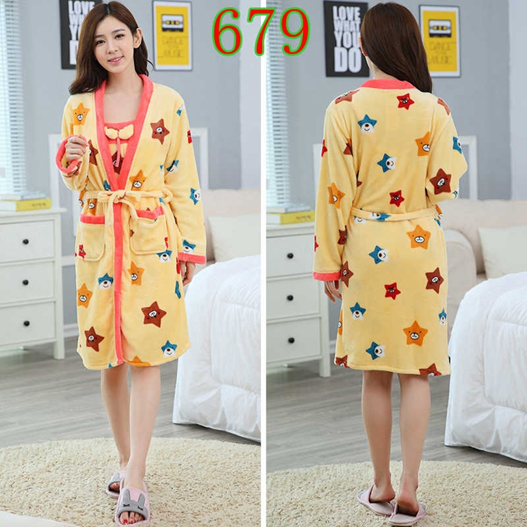 2PCS Sexy Thick Warm Flannel Robes Sets for Women 2018 Winter Coral Velvet Lingerie Night Dress Bathrobe Two Piece Set Nightgown 288