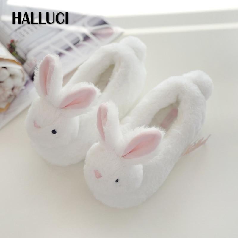 HALLUCI Child rabbit Cartoon home flats slippers kids boys girls fleece kawaii keep warm Children fur indoor kid shoes