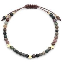 Натуральный камень бусины браслет для женщин ручной работы 4 мм кристалл браслеты со звездами и браслеты размер регулируемые аксессуары