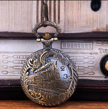 Retro Vintage Bronze Oco Trem Locomotiva Steampunk Quartzo Relógio de Bolso  Mulheres Homens FOB cadeia presente PB836 1951dc7515