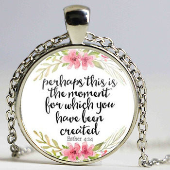 New Perhaps This is the Moment for which you have Been Created Necklace Inspirational Jewelry Esther 4:14 Christian Gifts image