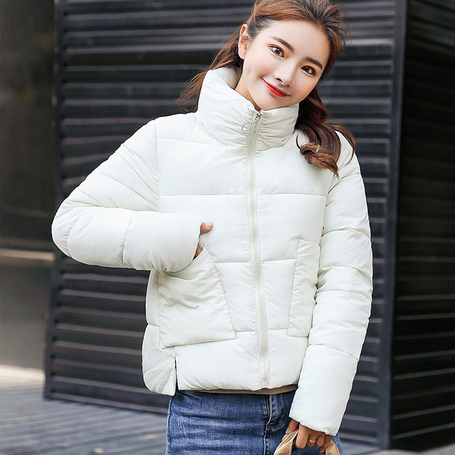 bdd9632133 Women's Down Cotton Padded Jacket Women Parkas Wadded Jackets Warm Coats  2018 Autmn Winter Female Thick Solid Outwear Short Coat