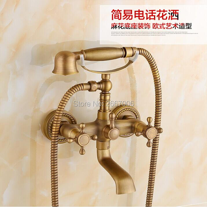 Free shipping Good Quality Telephone Style Antique Brass Shower Faucet Dual Handle Mixer Wall Mounted Bathroom Shower Set ZR012 good quality wall mounted square style brass waterfall shower set new bathroom shower with handle rainfall shower head
