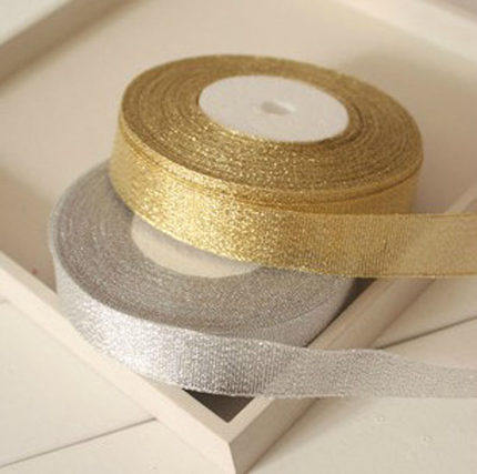 6mm 25 Yard/roll Gold Onions Belt Ribbon for Gift Packaging, Golden and Silver Glitter Webbing Decoration Gift Christmas Ribbons