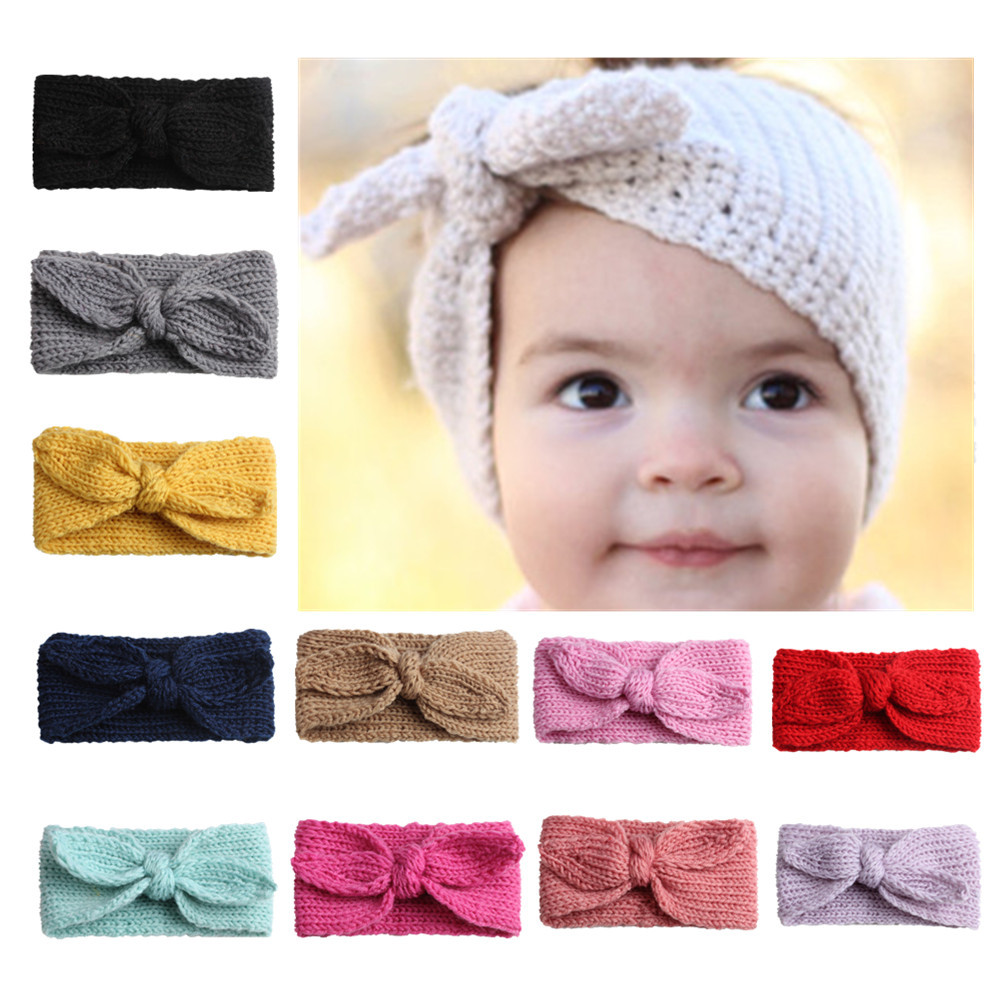 24pcs/lot,Winter Warmer Ear Knitted Headband Turban For Baby Girls Crochet Bow Wide Stretch Hairband Headwrap Hair Accessories