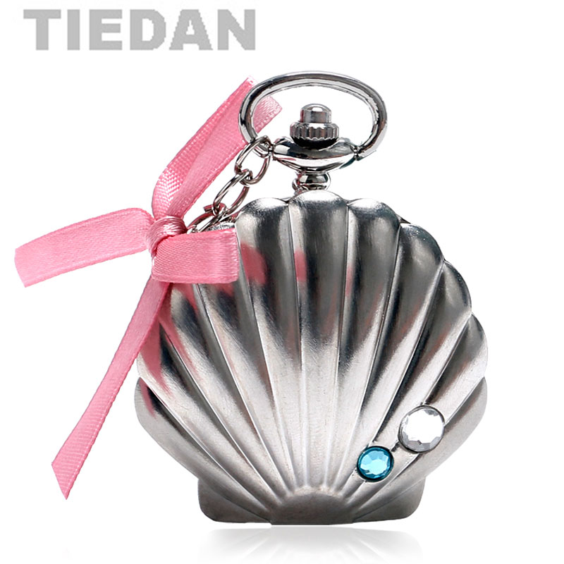 TIEDAN Brand Silver Color Mussel Oyster Shell Design Pocket Watch with Necklace Chain Pendant Quartz Watches Ladies Women Watch