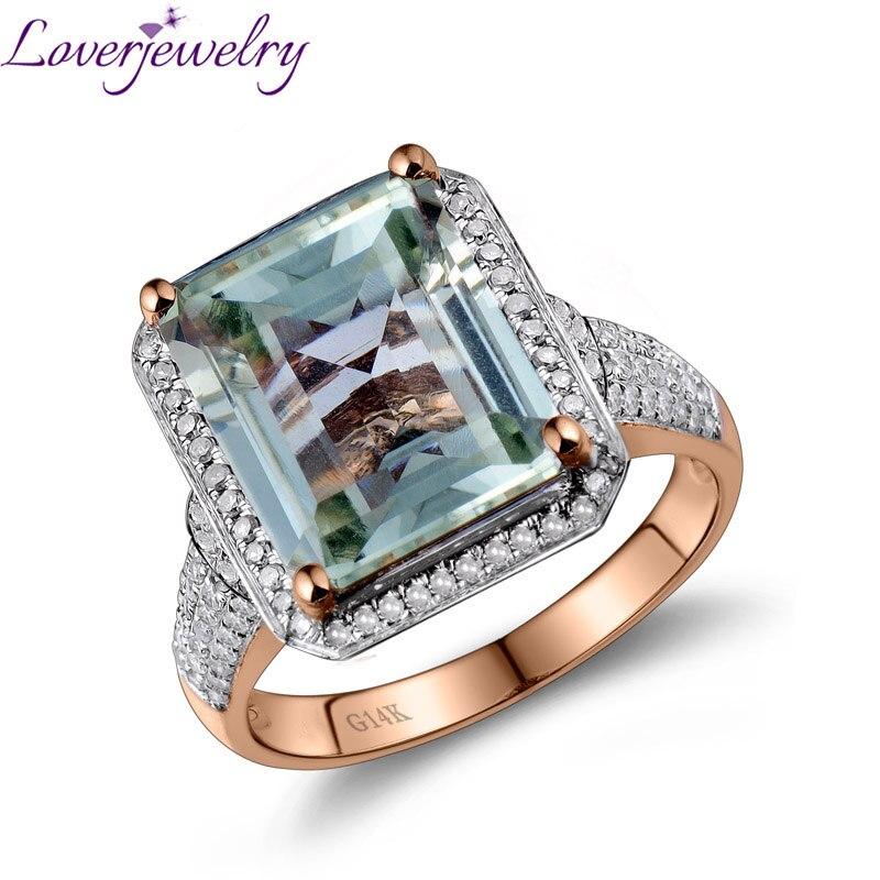 Loverjewelry Anello Per Le Donne Taglio Smeraldo Verde Della Pietra Preziosa 100% Ametista Naturale Diamante Anello di Fidanzamento Solido 14 K Rosa Gioielli In Oro
