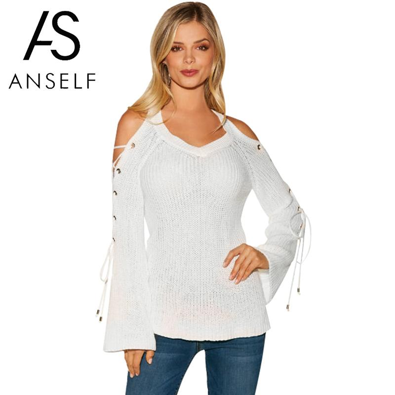 25d0aa6826770f Sexy Women Knitted Sweater Solid Color Cold Shoulder Lacing-up Flare Long  Sleeve V Neck Jumper Autumn Knitwear Top Pullover - a.mariuszkobiela.me