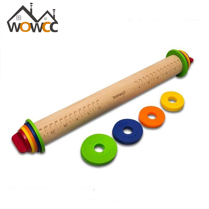 Wooden Baking Stick Rolling Pin Fondant Adjustable Rolling Pins MultifunctionThickness Embossing Patterned Cake Tools