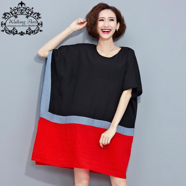Plus Size Verão T-Shirt Listrada Imprimir Patchwork Vestido de Algodão de Linho T feminino Camisa Batwing Moda Vermelho e Preto Topos Soltos 4XL