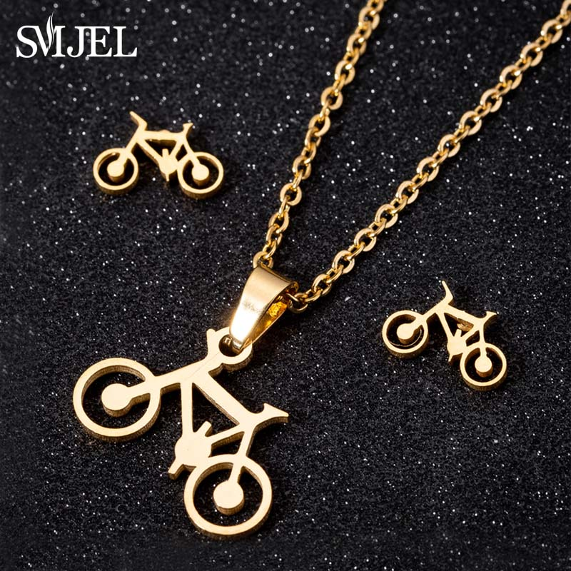 SMJEL Punk Sets Necklace Bicycle Necklaces Earrings Bike Links Chains For Women Men Necklaces Trendy Body Sports Pendant Gifts