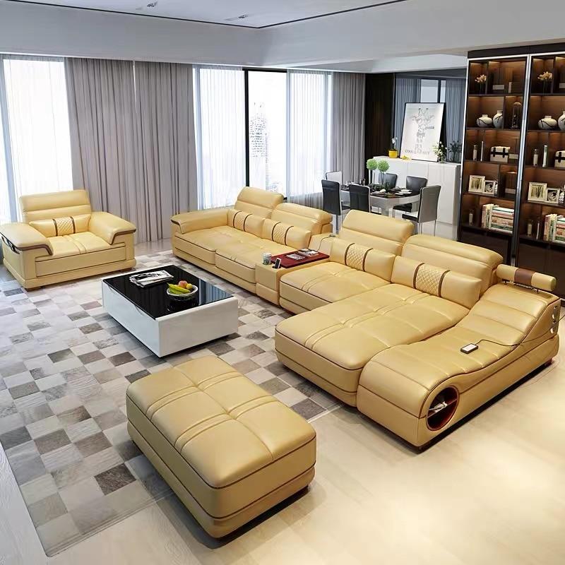Black U-shape Living Room Furniture Sectional Sofa Set G8007 Fancy Colours Living Room Furniture