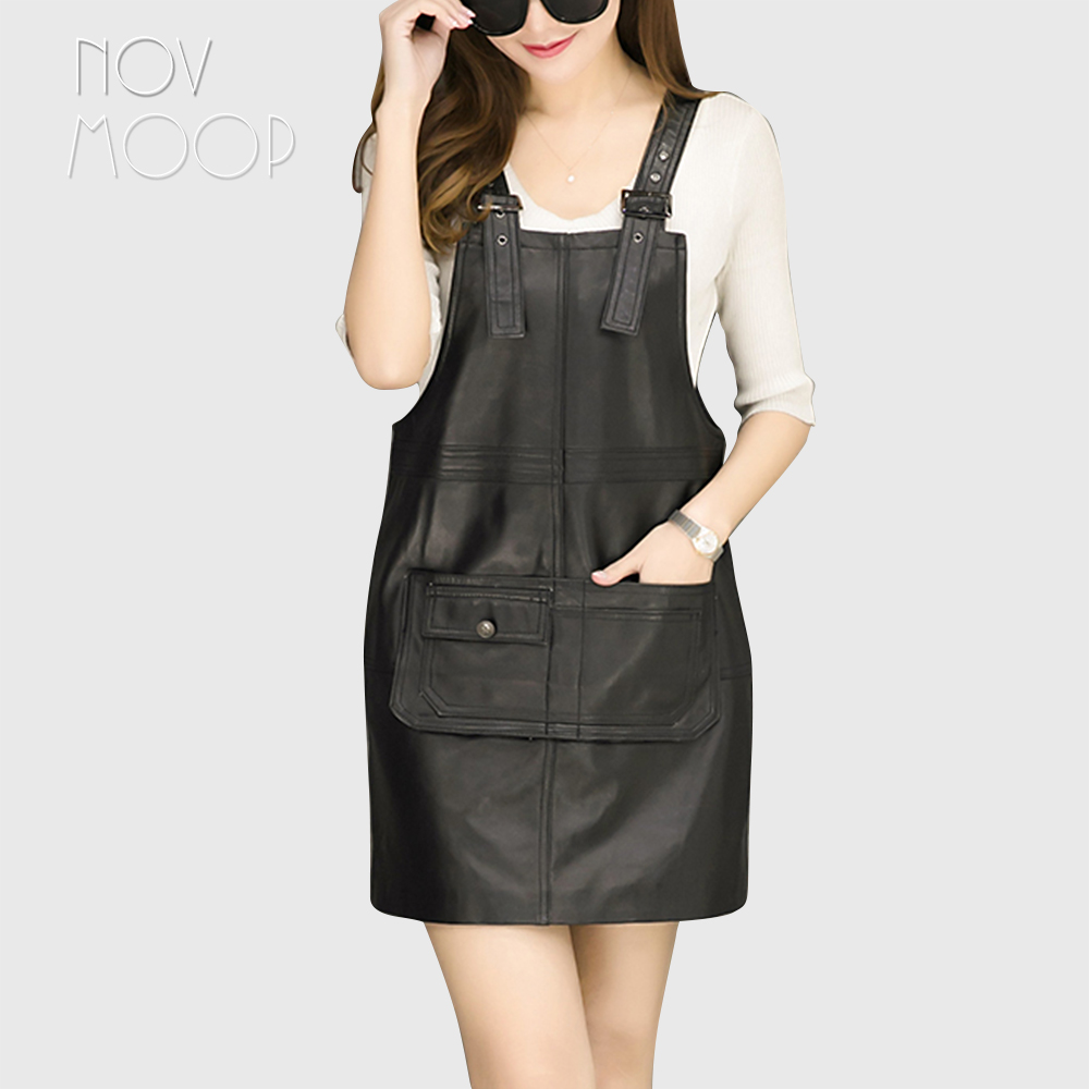 17c3f900bded1 US $116.05 45% OFF|Korean style cause genuine leather real lambskin strap  pinafore dress spring autumn women black mini A Line dress jurken LT2304-in  ...