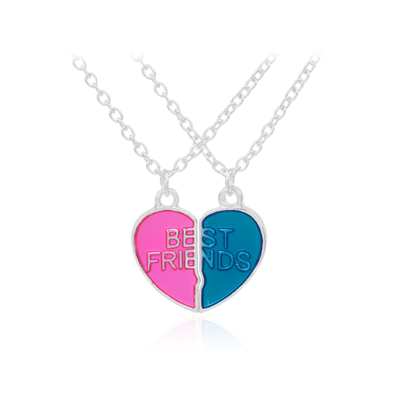 Best Friends BFF Necklaces For 2 Heart Candy color Bestfriend Necklace Cute Friendship Keepsake Gift For