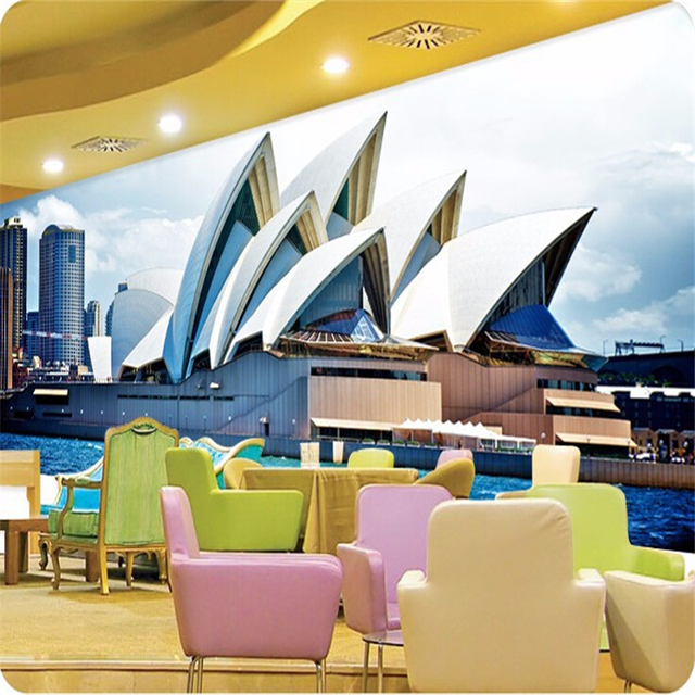 Beibehang Classic Wallpaper Simple Landscape Architectural Art Sydney Office  Large Three Dimensional Papel De Parede