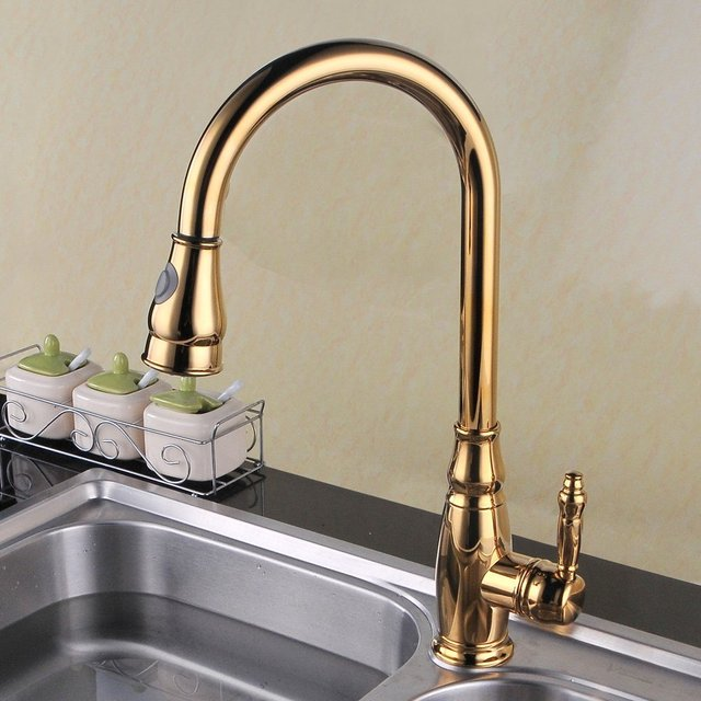 Luxury Titanium Gold Brass Single Handle High Arc Kitchen Sink Faucet  Golden Mixer Tap With Pull