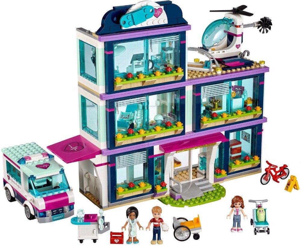 все цены на Lepin 01039 Heart Lake Love Hospital 932 Pcs Mini Bricks 41318 Girls Legoing Friends Series Set Building Blocks Toy For Children онлайн