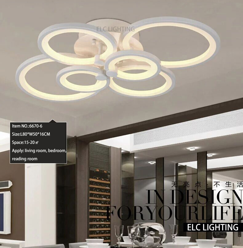 Modern Ceiling Design Smart Lighting Dimmable Decoration Online Shopping Living Room 6 Ring Lights In Pendant From