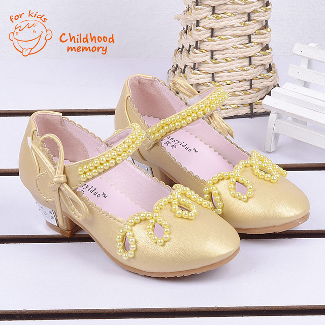 Shiny Pearls Baby Girls Princess Sandals 2016 New Summer baby Wedding Shoes  High Heels European Mules Chaussure Enfant Fille 42f7bc897dcd
