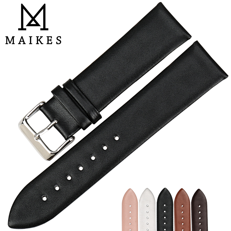 MAIKES Genuine Leather Watch Bracelet Watch accessories Watch Strap Black Watchband For MIDO DW CK TIMEX TISSOT CASIO Watch Band